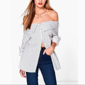 Boohoo | Charlotte Striped OTS Button Down